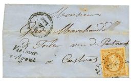 1854 10c(n°13) obl. PC 3571 + Cursive 77 VIELMUR/S-AGOUT + Dateur B sur lettre pour CASTRES. Rare. TB.