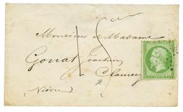 """1862 5c NON DENTELE(n°12) Percé en LIGNE obl. ETOILE + Taxe """"15ces"""" Manuscrite sur enveloppe pour CLAMECY. RA"""