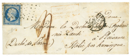 """1853 25c REPUBLIQUE (n°10) marges énormes obl. ROULEAU de Gros Points + Taxe """"4"""" + AFFRANCHISSEMENT INSUFFISA"""