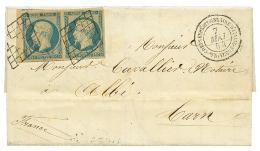 1854 Magnifique paire 25c REPUBLIQUE(n°10) obl. Grille + CORPS EXPEDITIONNAIRE D'ITALIE 1e DIVISION sur lettre avec