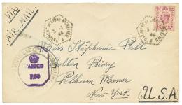 1944 ANGLETERRE 6d obl. BATIMENT DE LIGNE RICHELIEU + CENSURE FRANCAISE RICHELIEU sur env. PAR AVION pour NEW-YORK. RARE