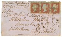 GUERRE DE CRIMEE : 1856 GB 1p(x3) obl. cachet rare OxO sur envelope pour l'ANGLETERRE. TB.