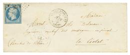 1855 20c(n°14) obl. AO2C + ARMEE D'ORIENT 2e CORPS sur env. pour la FRANCE. Rare. Cote 2900€. Ex. DUBUS. TB.