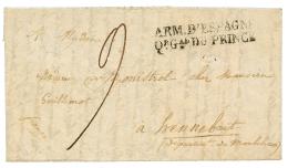 """1823 Cachet Rarissime ARM. D' ESPAGNE / Qr Gal DU PRINE sur lettre avec texte daté """"VITORIA 17 avril 1823"""" pour l"""