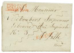 """1813 PORT-PAYE/ HOLLANDE/ TROUPES Fcaises rouge sur lettre avec texte(superbe vignette illustrée GOUDA"""" de GOUDA"""