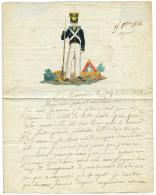 """1824 """"CANTINIERE"""" en couleur sur lettre de BESANCON pour MIRECOURT. Petite déchirure. RARE. TB."""
