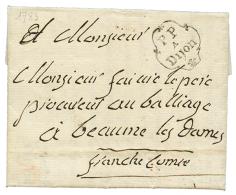 1783 Cachet orné PP A DIJON sur lettre pour BEAUME LES DAMES. Superbe.