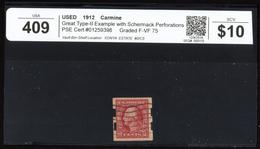 1912 Used Schermack 2c Imperf Scott #409 PSE Cert#01259398 F-VF-See Cert - United States