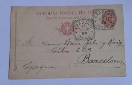1901 INTERO POSTALE X ESTERO SPAGNA DA FRASCATI A BARCELLONA (157) - 1878-00 Umberto I