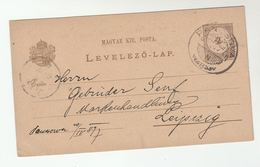 1897 PANCSOVA  Pancevo Serbia HUNGARY Postal  STATIONERY CARD To  LEIPZIG Germany Cover Stamps - Covers & Documents