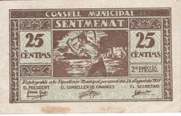 BILLETE DE 25 CTS DEL CONSELL MUNICIPAL DE SENTMENAT (SELLO AZUL) DEL AÑO 1937 (BANKNOTE) - [ 3] 1936-1975 : Régimen De Franco