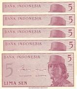 INDONESIA 5 SEN 1964 P-91 UNC 5 PCS  [ID544a] - Indonesia