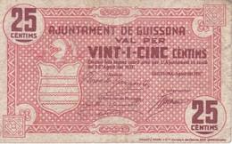 BILLETE DE 25 CTS DEL AJUNTAMENT DE GUISSONA DEL AÑO 1937 (BANKNOTE) - [ 3] 1936-1975 : Régimen De Franco
