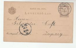 1897  Budapest HUNGARY Postal STATIONERY CARD To LEIPZIG  Germany Cover Stamps - Covers & Documents