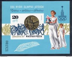 HUNGARY 1980 Olympic Medal Winners Imperforate Block MNH / **.  Michel Block 145B - Blocks & Sheetlets