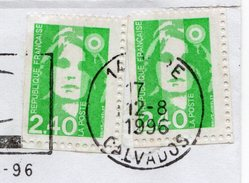 1996 - Lettre De VIRE Pour CAEN - 2 Timbres Marianne Du Bicentenaire 2,40€ (n°2823 ?)   VOIR DENTELURE - Abarten Und Kuriositäten
