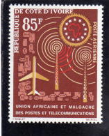 IVORY COAST COTE D´IVOIRE COSTA D´AVORIO 1963 1967 UAMPT AFRICAN POSTAL UNION TELECOMMUNICATIONS MNH - Costa D'Avorio (1960-...)