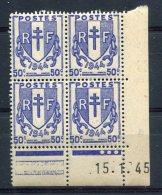 2275   FRANCE   N° 673  Chaînes Brisées 50 C  Du 15/01/45   SUPERBE - Coins Datés