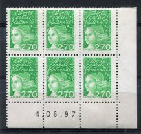 2276   FRANCE   N° 3091  2F70 Vert    Marianne De Luquet    Du 04/06/97   SUPERBE - Hoekdatums