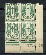 2278   FRANCE   N° 671  Chaînes Brisées 30 C    Du 17/08/45   SUPERBE - Dated Corners