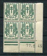 2282   FRANCE   N° 671  Chaînes Brisées   30 C     Du 17/08/45   SUPERBE - Coins Datés