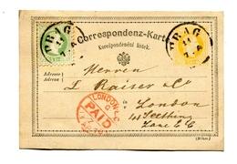 !!! ENTIER POSTAL DE PRAGUE DE 1876 POUR LONDRES - Tchécoslovaquie