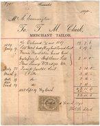 VP10.005 - Facture - Jo. J. M. CLARK Merchant Tailor à NEWMARKET ( Angleterre ) - Royaume-Uni