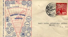BASE NAVAL ANTARTICA ARTURO PRATT ANTARTIDA CHILENA 1964 SOBRE  ZTU. - Chile