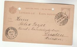 1914 ZAGREB Croatia HUNGARY Postal STATIONERY CARD  To Dresden Germany Cover Stamps - Covers & Documents