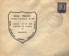 BAHIA PARAISO EXPOSICION  GABRIEL GONZALEZ VIDELA  1957 SOBRE  ZTU. - Chile