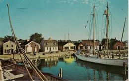 CPA-1955-USA-CONNECTICUT-MYSTIC SEAPORT-BATEAU-SCHOONER BOWDOIN-de L Admiral MACMILLAN`S Explorateur ARCTICa QUAI--BE- - Etats-Unis