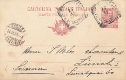 ITALIEN 1906 - 10 C Ganzsache Auf Pk Gel.1906 Von Salerno Nach Zürich - Ganzsachen