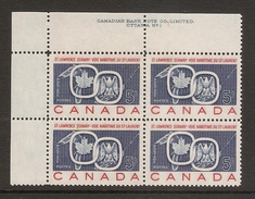 003673 Canada 1959 St Lawrence 5c Plate 1 Block UL MNH - Plate Number & Inscriptions