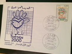 ALGERIE-FDC + NOTICE OFFICIELLE- TELETHON 2000- SEISME AIN TEMOUCHENT1999 - 2000 – Hanover (Germany)