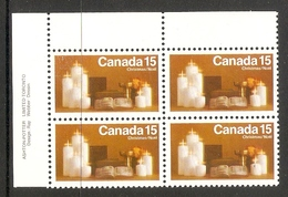 003687 Canada 1972 Xmas 15c Plate Block UL MNH - Num. Planches & Inscriptions Marge