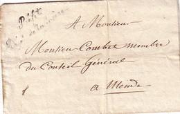 LOZERE - MENDE - CURSIVE PREFET DEPt DE LA LOZERE - ENTETE LE PREFET DU DEPARTEMENT LE 13-10-1824. - Marcophilie (Lettres)