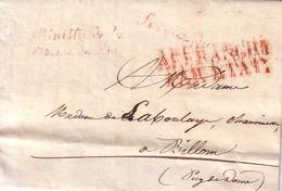 MINISTERE DE LA MAISON DU ROI - SERVICE DU ROI - BUREAU DE PENSIONS - PARIS 23 MARS 1825 - SERVICE DU ROI - AFFRANCHI PA - 1801-1848: Précurseurs XIX