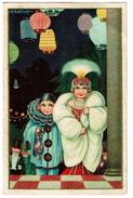 Superbe Carte Signée A. Bertiglia, Enfants, Carnaval, Pierrot, Lanternes .. Elite N° 2571 - 2 Scans - Bertiglia, A.