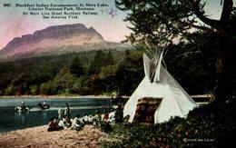 RARE BLACKFEET INDIAN ENCAMPMENT ST MARY LAKE GLACIER NATIONAL PARK MONTANA - Indios De América Del Norte