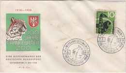 GERMANY FIRST DAY COVER - 100 YEARS FRANKFURT ZOO - ANIMALS - GIRAFFE  STAMP - TIGER