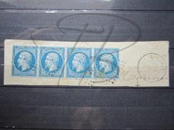VEND TIMBRES DE FRANCE N° 14A EN BANDE DE 4 , PC 609 ( CARAMAN ) !!!! - 1853-1860 Napoleon III