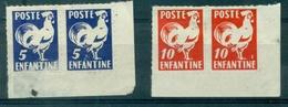 FRANCE POSTE ENFANTINE Type COQ 5c & 10c X 2 Paires N (x) - Curiosità: 1960-69  Nuovi