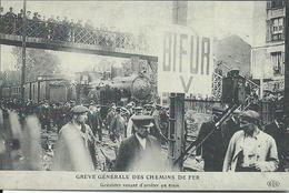 CP - Grève Générale Des Chemins De Fer  Reproduction Avec Texte Au Dos - Grèves