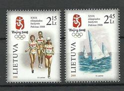 Lithuania Litauen 2008 Michel 981 - 982 Beijing Olympics MNH