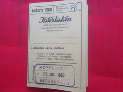 Suisse INTERLAKEN KURKARTE 1960 HÔTEL HORN Publicité Excursions Dépliant Touristique:Avis,Notice,info,Casino,Pub,Plan - Dépliants Touristiques