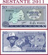 RWANDA  -  50 FRANCS 1.1. 1976   -  P 7c   -  Uncirculated UNC - Rwanda