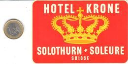 ETIQUETA DE HOTEL  -HOTEL KRONE  - SOLEURE  -SUIZA  (CON CHANELA) - Hotel Labels