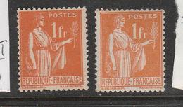 FRANCE N° 286 1F ORANGE TYPE PAIX TYPE II + 286a TYPE I NEUF SANS CHARNIERE - Curiosités: 1931-40 Neufs