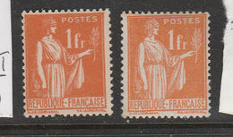 FRANCE N° 286 1F ORANGE TYPE PAIX TYPE II + 286a TYPE I NEUF SANS CHARNIERE