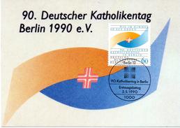 """Berlin West Maximumkarte """"90.Deutscher Katholikentag Berlin 1990"""" Mi-Nr. 873 ESSt. 3.5.1990 Berlin 12 - Maximumkarten (MC)"""